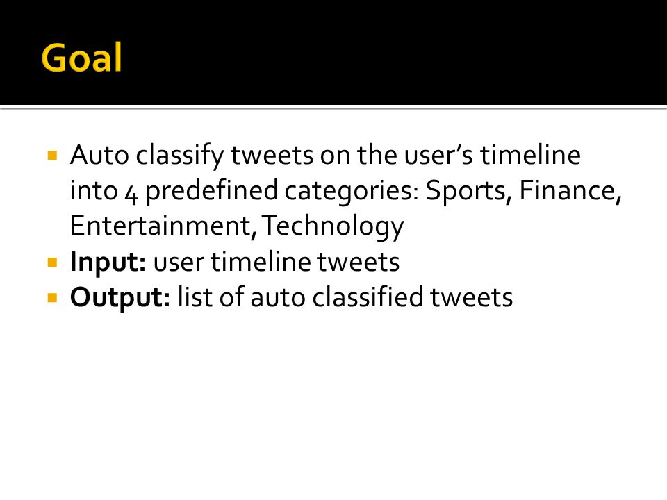  Auto classify tweets on the user's timeline into 4 predefined categories: Sports, Finance, Entertainment, Technology  Input: user timeline tweets  Output: list of auto classified tweets
