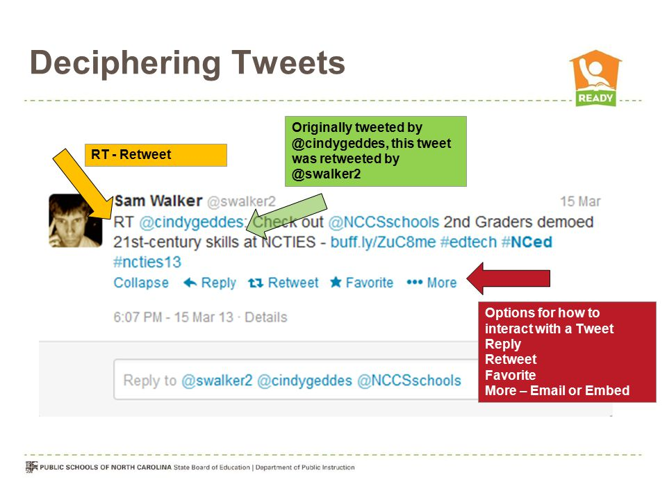 Deciphering Tweets RT - Retweet Options for how to interact with a Tweet Reply Retweet Favorite More – Email or Embed Originally tweeted by @cindygedd