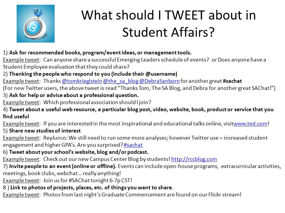 What should I TWEET about in Student Affairs.