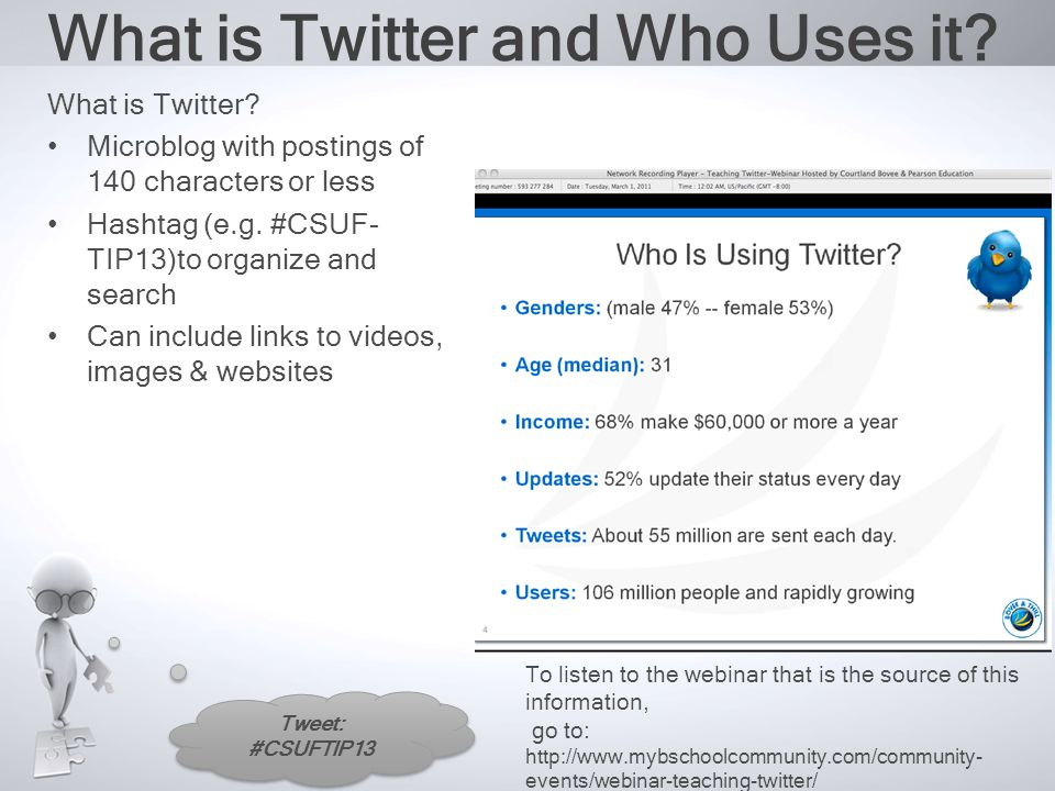 Tweet: #CSUFTIP13 What is Twitter and Who Uses it.