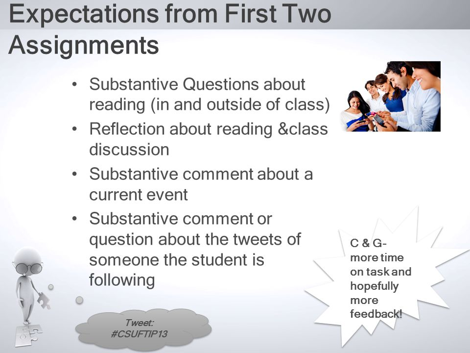 Tweet: #CSUFTIP13 Expectations from First Two Assignments Substantive Questions about reading (in and outside of class) Reflection about reading &class discussion Substantive comment about a current event Substantive comment or question about the tweets of someone the student is following C & G- more time on task and hopefully more feedback!