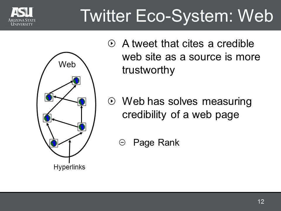 Twitter Eco-System: Web Hyperlinks A tweet that cites a credible web site as a source is more trustworthy Web has solves measuring credibility of a web page Page Rank 12