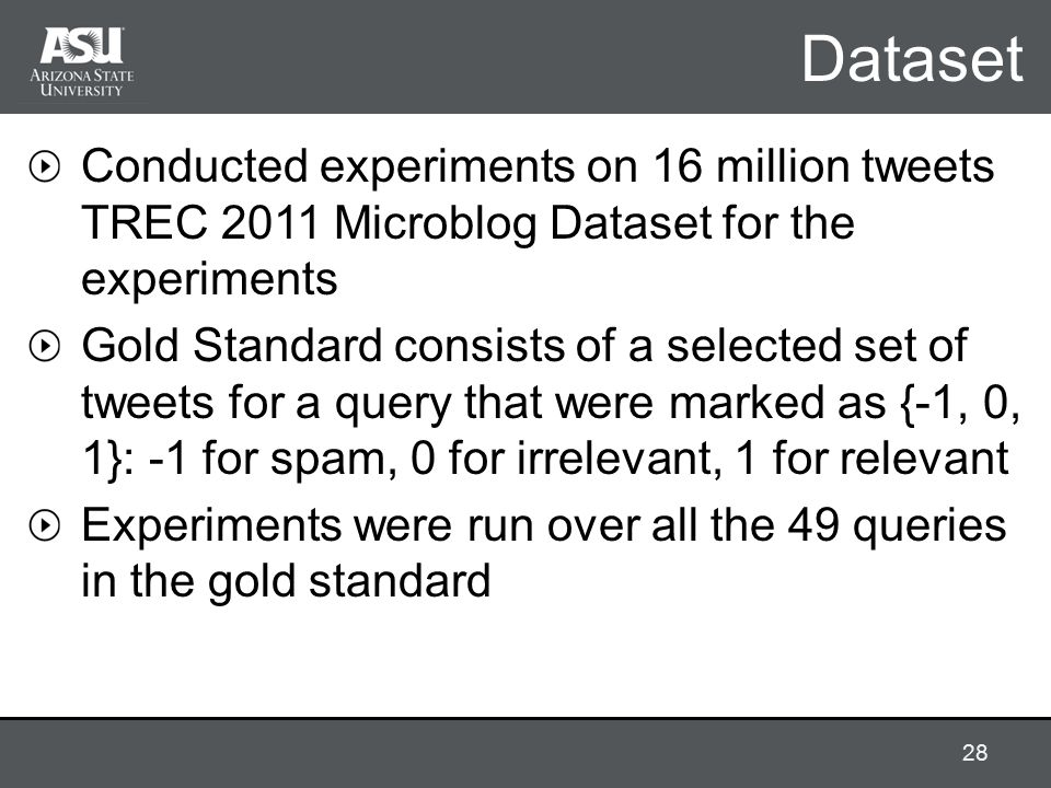 Dataset Conducted experiments on 16 million tweets TREC 2011 Microblog Dataset for the experiments Gold Standard consists of a selected set of tweets for a query that were marked as {-1, 0, 1}: -1 for spam, 0 for irrelevant, 1 for relevant Experiments were run over all the 49 queries in the gold standard 28