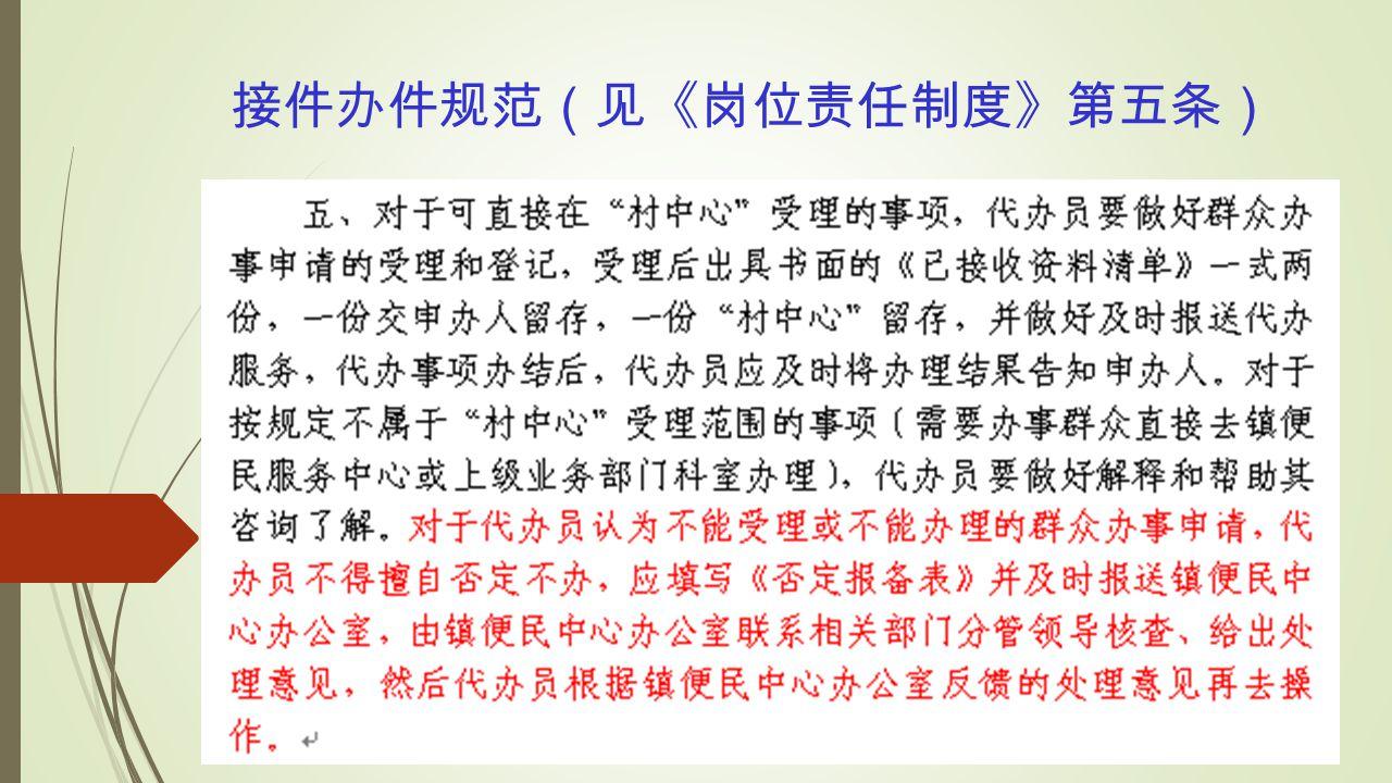 接件办件规范(见《岗位责任制度》第五条)