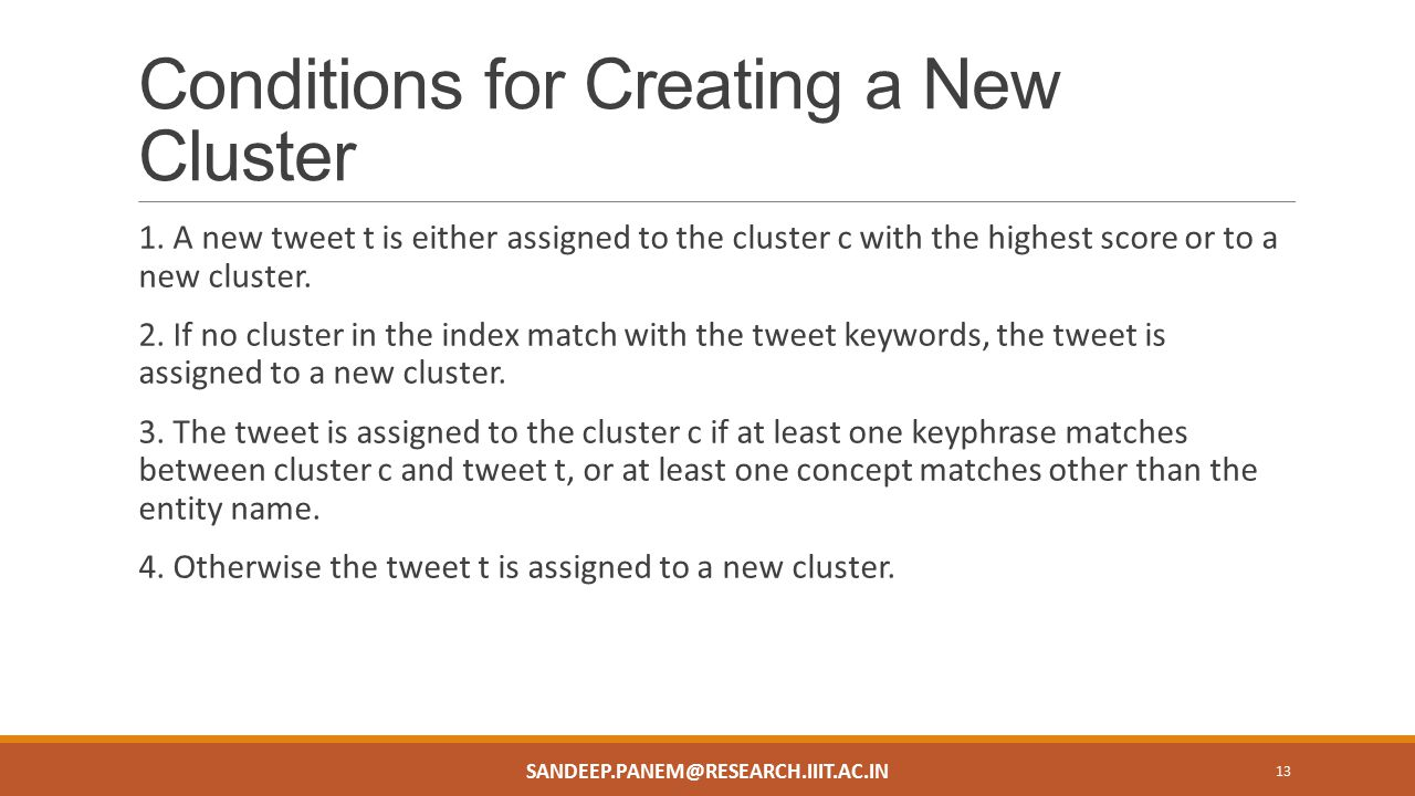 Conditions for Creating a New Cluster 1.