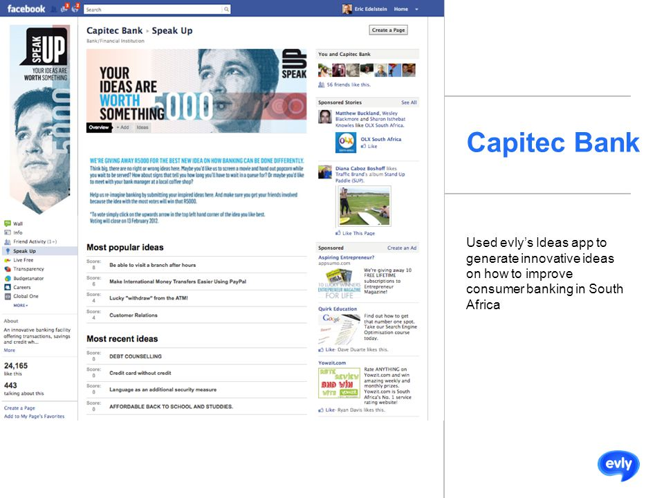 Capitec Bank Used evly's Ideas app to generate innovative ideas on how to improve consumer banking in South Africa