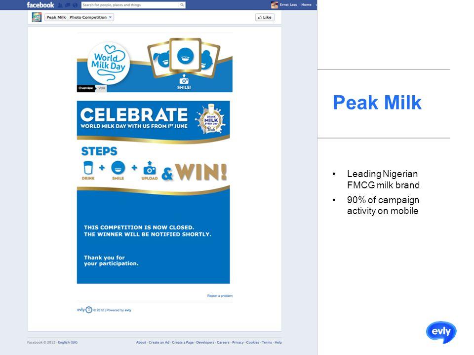 Peak Milk Leading Nigerian FMCG milk brand 90% of campaign activity on mobile