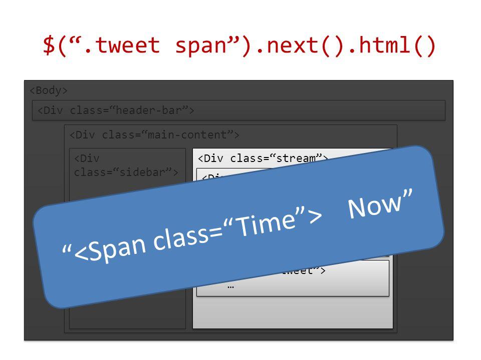 $( .tweet span ).next().html() … … Ben Now Hi Now