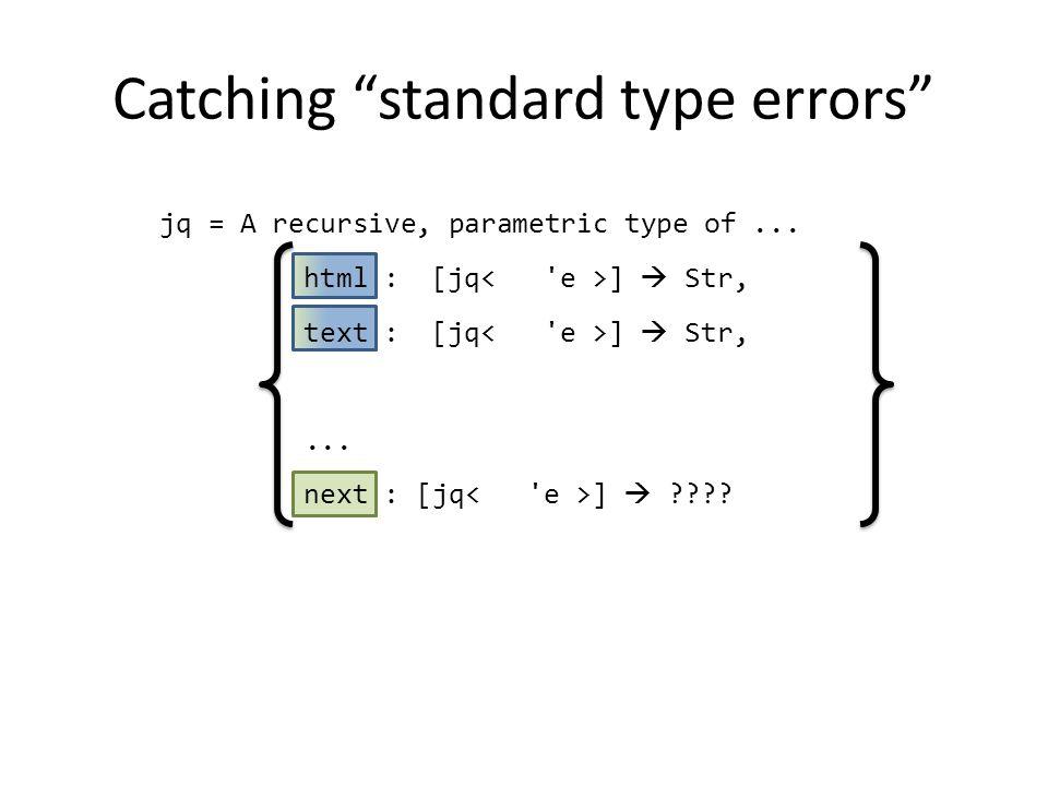 Catching standard type errors jq = A recursive, parametric type of...