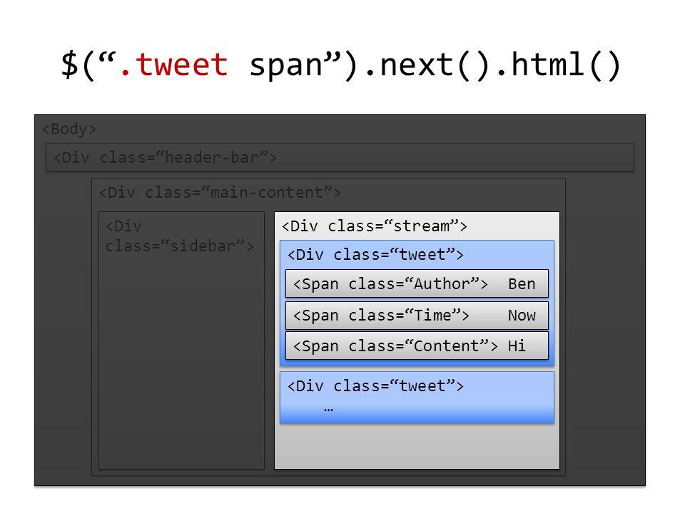 $( .tweet span ).next().html() … … Ben Now Hi