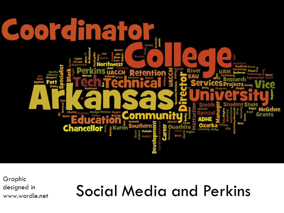 Social Media and Perkins Graphic designed in www.wordle.net