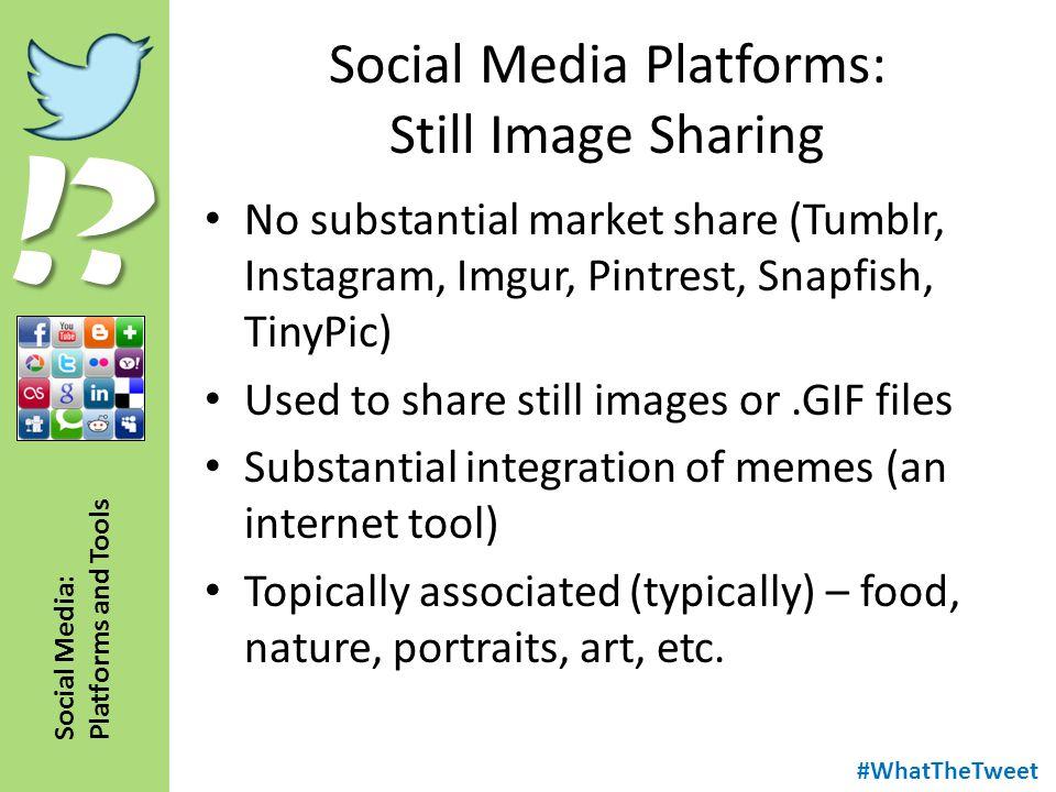 !? Social Media: Platforms and Tools Social Media Platforms: Still Image Sharing No substantial market share (Tumblr, Instagram, Imgur, Pintrest, Snap