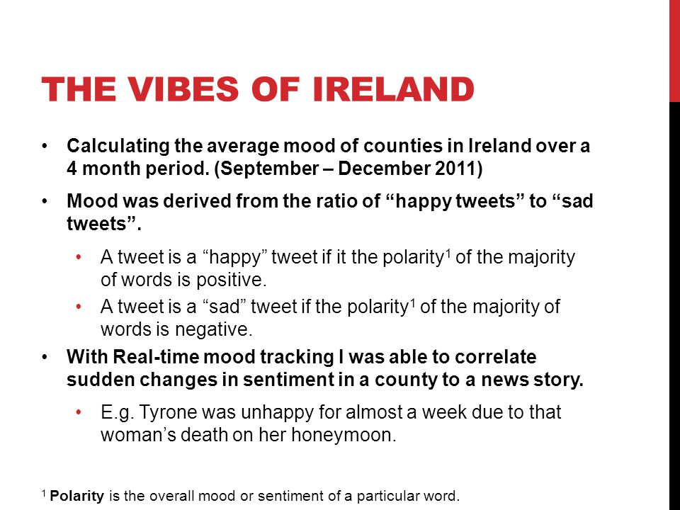 THE VIBES OF IRELAND Calculating the average mood of counties in Ireland over a 4 month period.