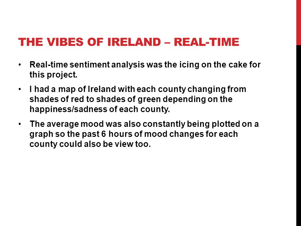 THE VIBES OF IRELAND – REAL-TIME Real-time sentiment analysis was the icing on the cake for this project. I had a map of Ireland with each county chan