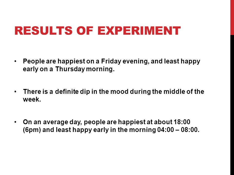 RESULTS OF EXPERIMENT People are happiest on a Friday evening, and least happy early on a Thursday morning.