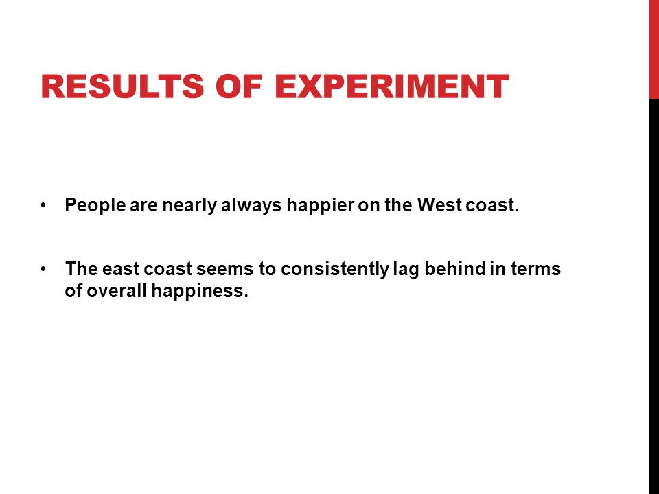 RESULTS OF EXPERIMENT People are nearly always happier on the West coast.