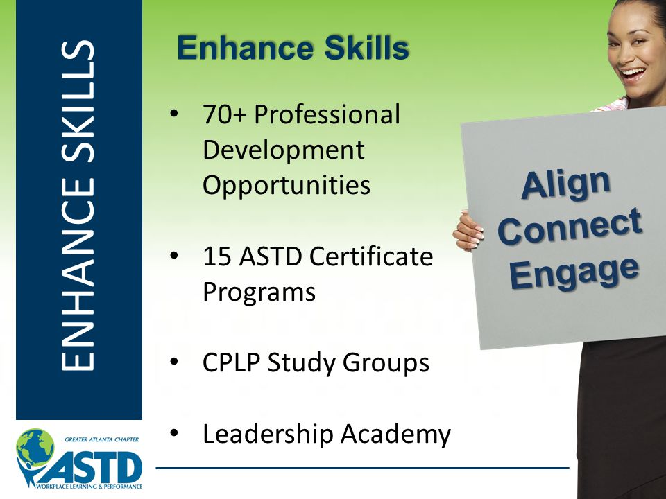 ENHANCE SKILLS 70+ Professional Development Opportunities 15 ASTD Certificate Programs CPLP Study Groups Leadership Academy Enhance Skills Align Conne