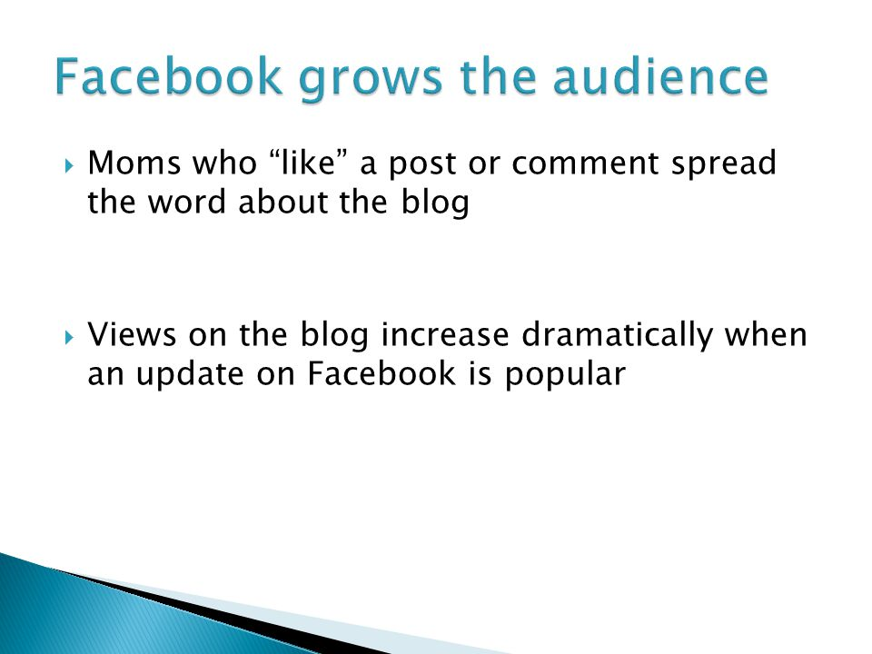  Moms who like a post or comment spread the word about the blog  Views on the blog increase dramatically when an update on Facebook is popular