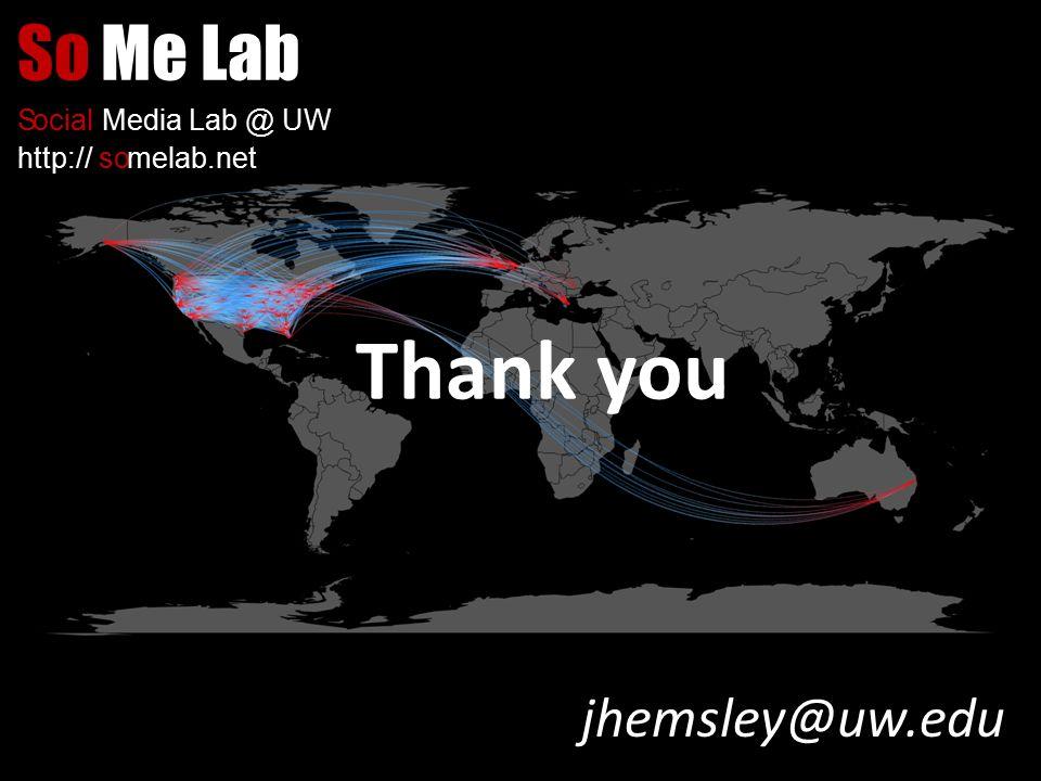 SoMe Lab SocialMedia Lab @ UW http://somelab.net jhemsley@uw.edu Thank you