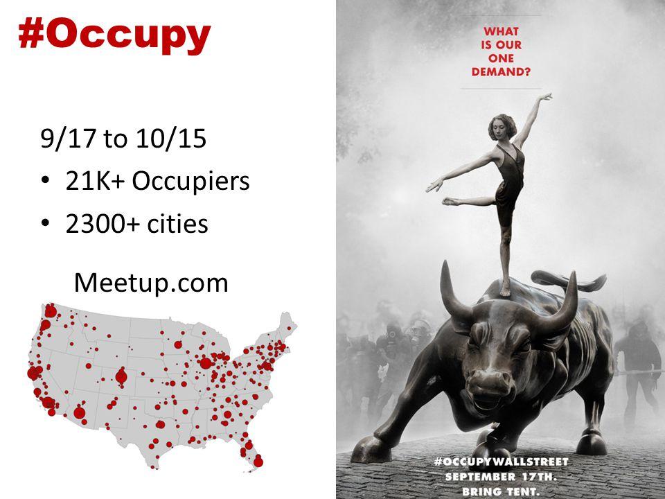 #Occupy 9/17 to 10/15 21K+ Occupiers 2300+ cities Meetup.com