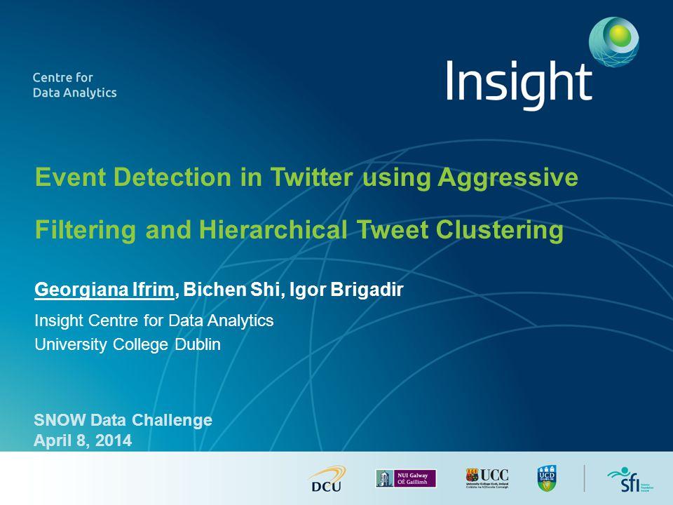 Georgiana Ifrim, Bichen Shi, Igor Brigadir Insight Centre for Data Analytics University College Dublin Event Detection in Twitter using Aggressive Fil