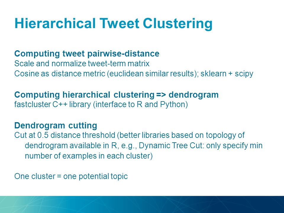 Hierarchical Tweet Clustering Computing tweet pairwise-distance Scale and normalize tweet-term matrix Cosine as distance metric (euclidean similar res