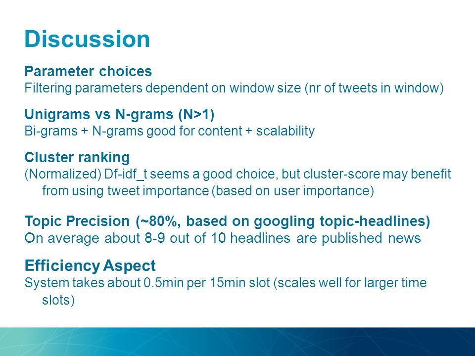 Discussion Parameter choices Filtering parameters dependent on window size (nr of tweets in window) Unigrams vs N-grams (N>1) Bi-grams + N-grams good