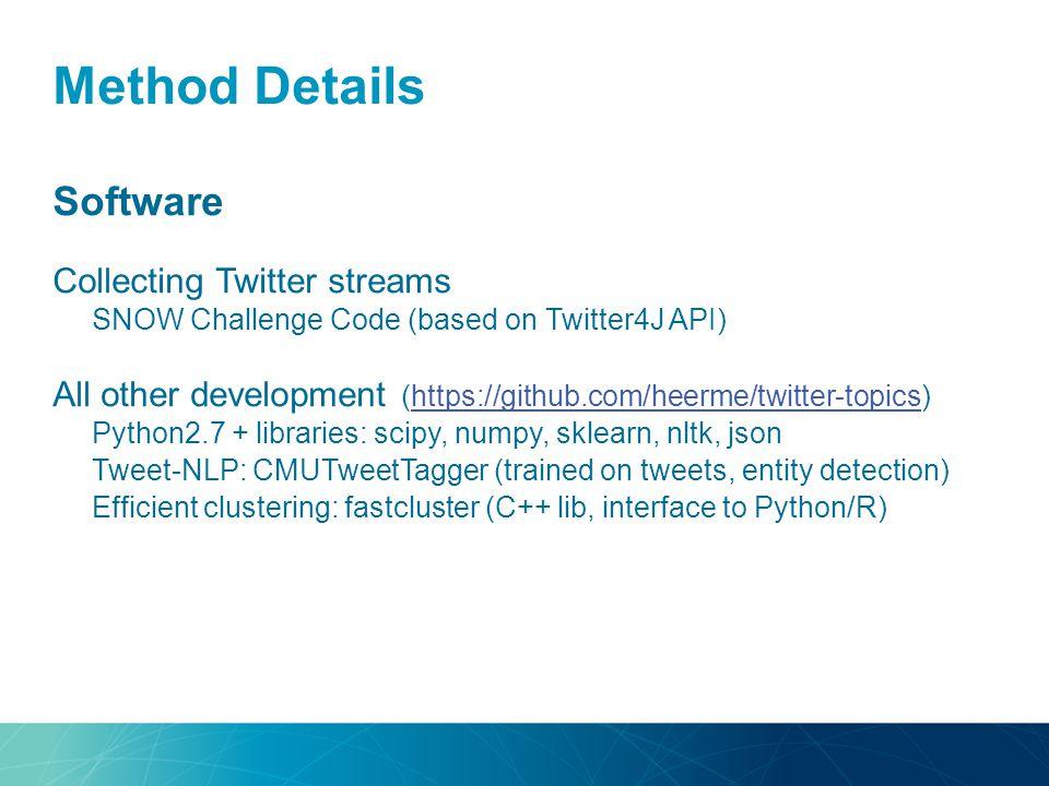 Method Details Software Collecting Twitter streams SNOW Challenge Code (based on Twitter4J API) All other development (https://github.com/heerme/twitt