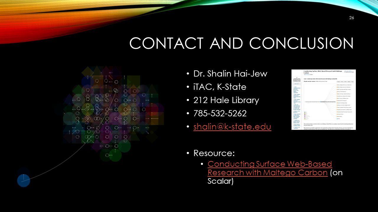 CONTACT AND CONCLUSION Dr.