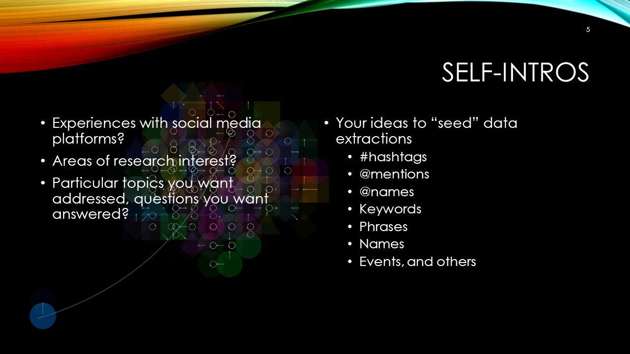 SELF-INTROS Experiences with social media platforms.
