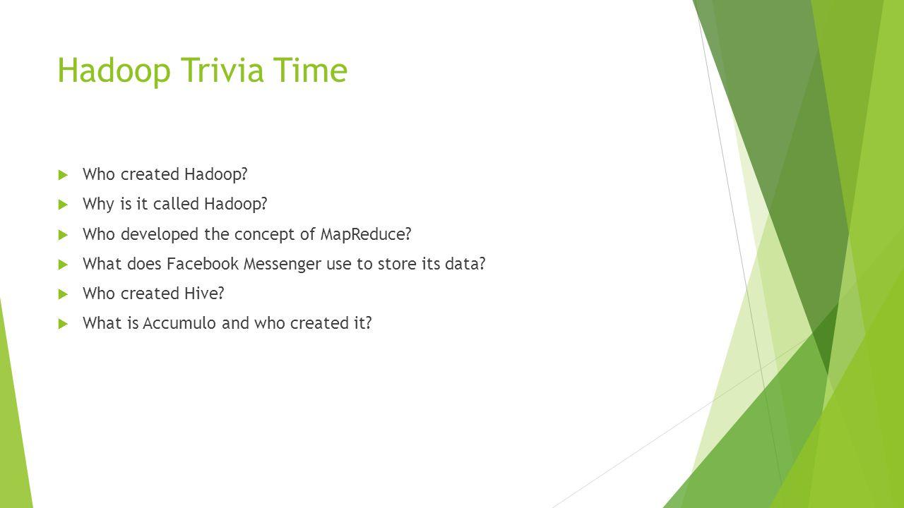 Hadoop Trivia Time  Who created Hadoop.  Why is it called Hadoop.