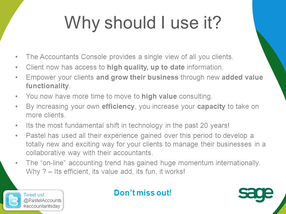 The Accountants Console provides a single view of all you clients.