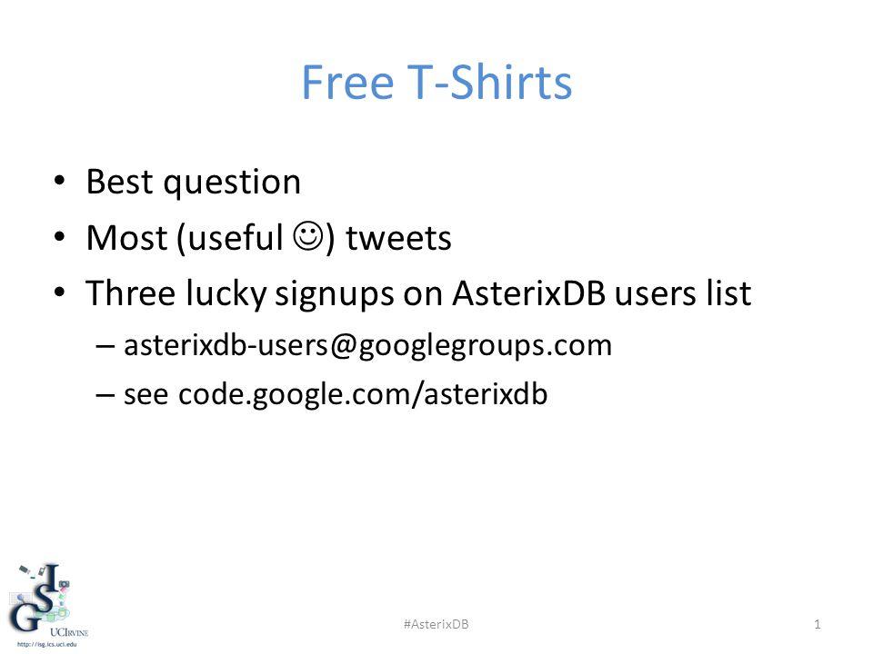 Free T-Shirts Best question Most (useful ) tweets Three lucky signups on AsterixDB users list – asterixdb-users@googlegroups.com – see code.google.com/asterixdb #AsterixDB1