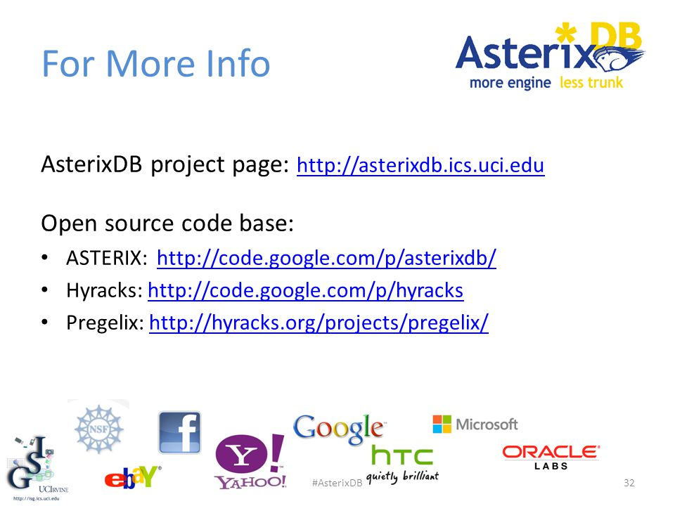 For More Info AsterixDB project page: http://asterixdb.ics.uci.edu http://asterixdb.ics.uci.edu Open source code base: ASTERIX: http://code.google.com/p/asterixdb/http://code.google.com/p/asterixdb/ Hyracks: http://code.google.com/p/hyrackshttp://code.google.com/p/hyracks Pregelix: http://hyracks.org/projects/pregelix/http://hyracks.org/projects/pregelix/ 32#AsterixDB