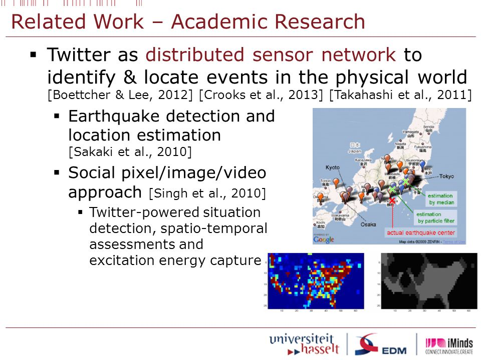 Related Work – Academic Research  Twitter as distributed sensor network to identify & locate events in the physical world [Boettcher & Lee, 2012] [Crooks et al., 2013] [Takahashi et al., 2011]  Earthquake detection and location estimation [Sakaki et al., 2010]  Social pixel/image/video approach [Singh et al., 2010]  Twitter-powered situation detection, spatio-temporal assessments and excitation energy capture