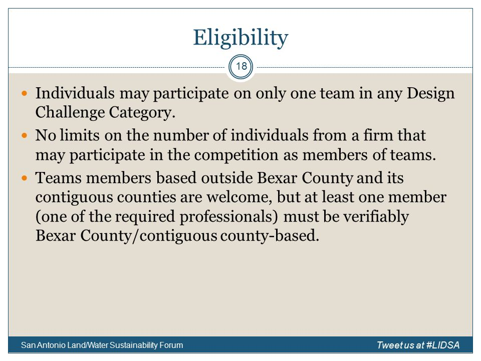 Eligibility Individuals may participate on only one team in any Design Challenge Category.