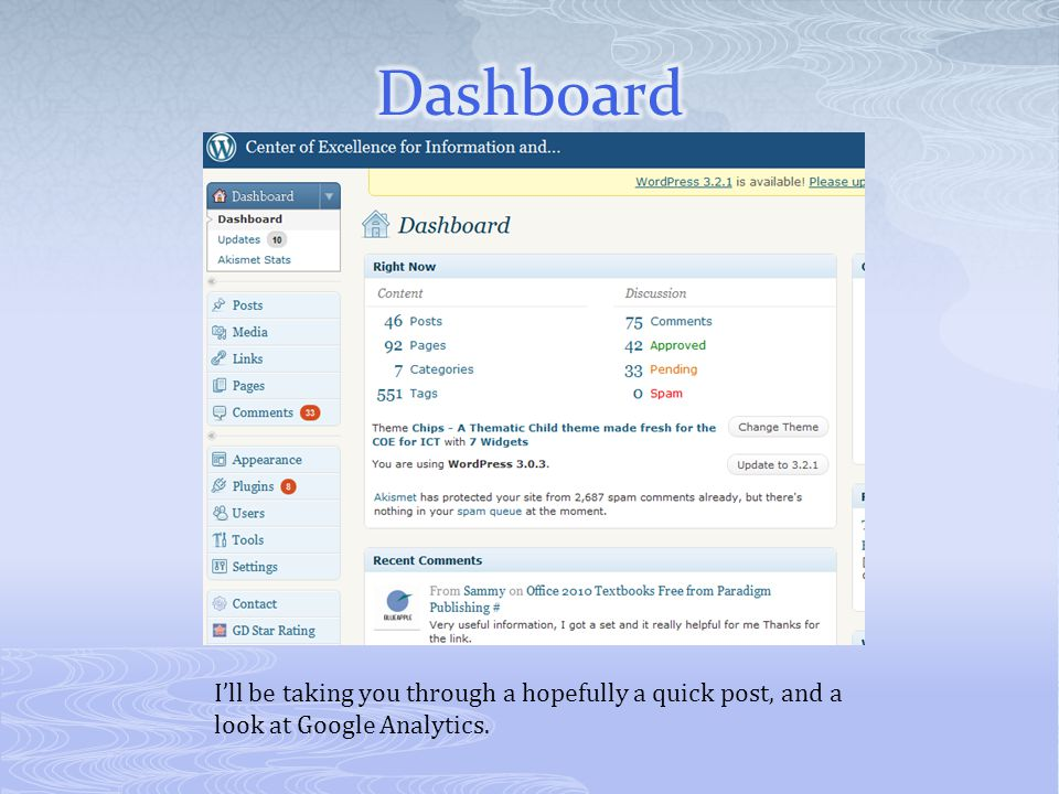 I'll be taking you through a hopefully a quick post, and a look at Google Analytics.