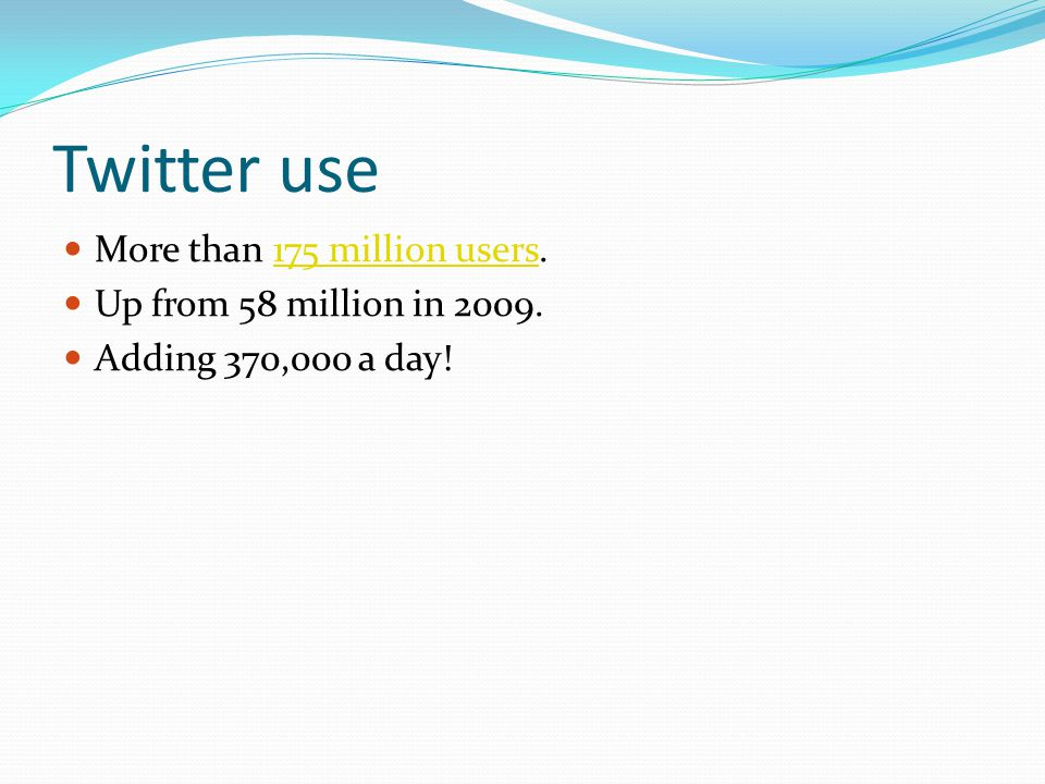 Twitter use More than 175 million users.175 million users Up from 58 million in 2009. Adding 370,000 a day!