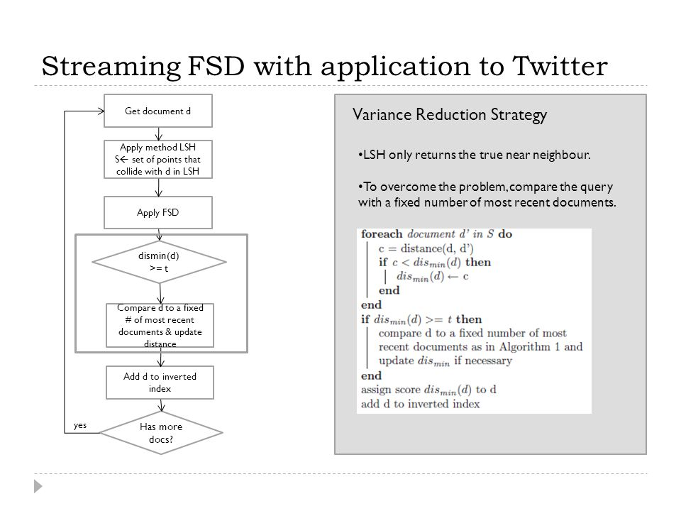 Streaming FSD with application to Twitter Variance Reduction Strategy LSH only returns the true near neighbour. To overcome the problem, compare the q