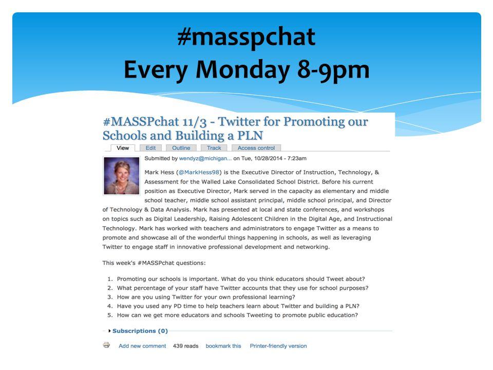 #masspchat Every Monday 8-9pm