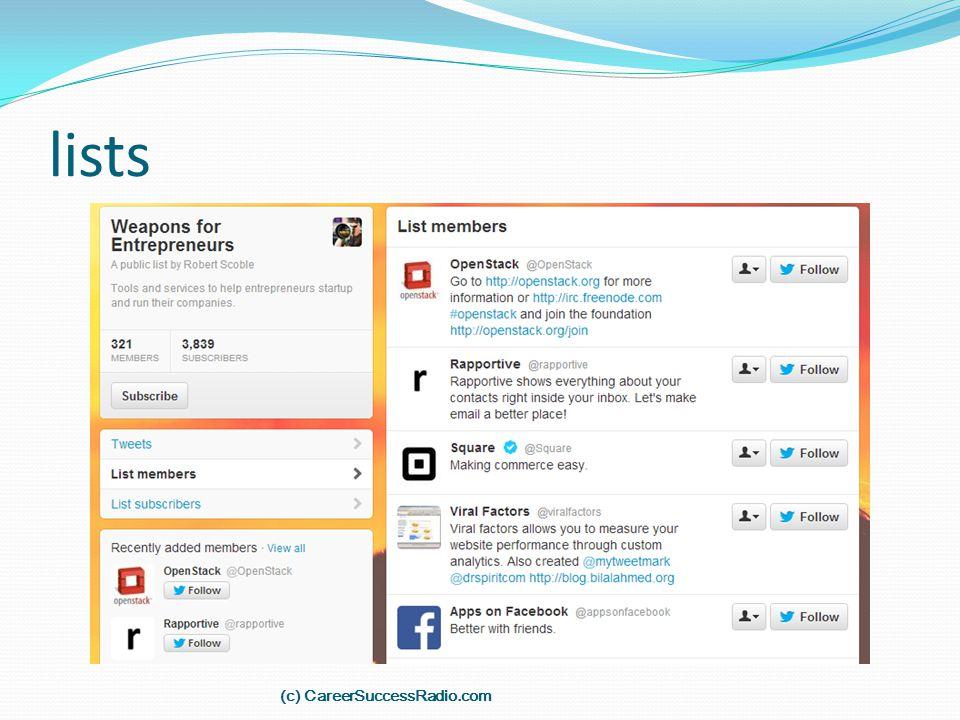 lists (c) CareerSuccessRadio.com