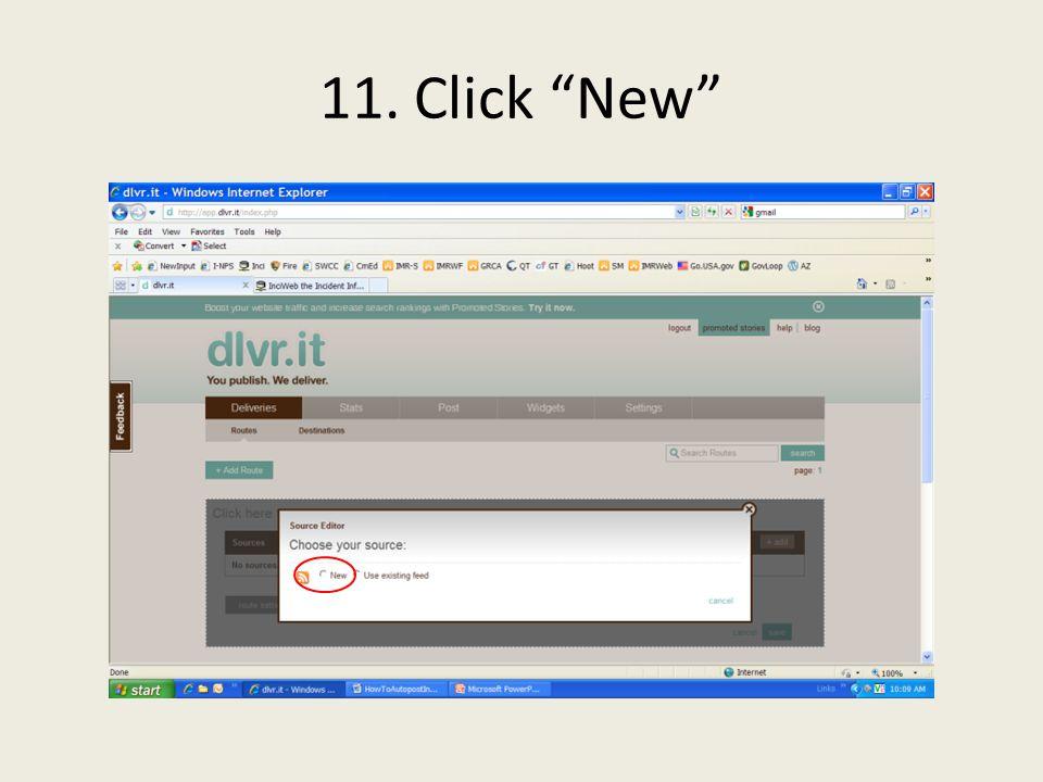 11. Click New