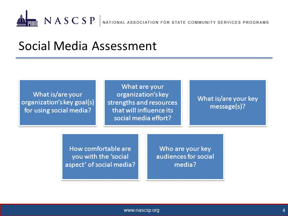www.nascsp.org 5 Messaging Framing Craft tweets, posts, and videos for your target audience using values and words that will resonate with them Keywords Internet searches rely heavily on keywords, use those words that will maximize search results Personal Touch Social media is informal, don't be afraid to use a more informal tone and personal updates from staff Health & Safety The health and safety of WAP workers and clients should always be paramount in all posts, tweets, pictures, and videos