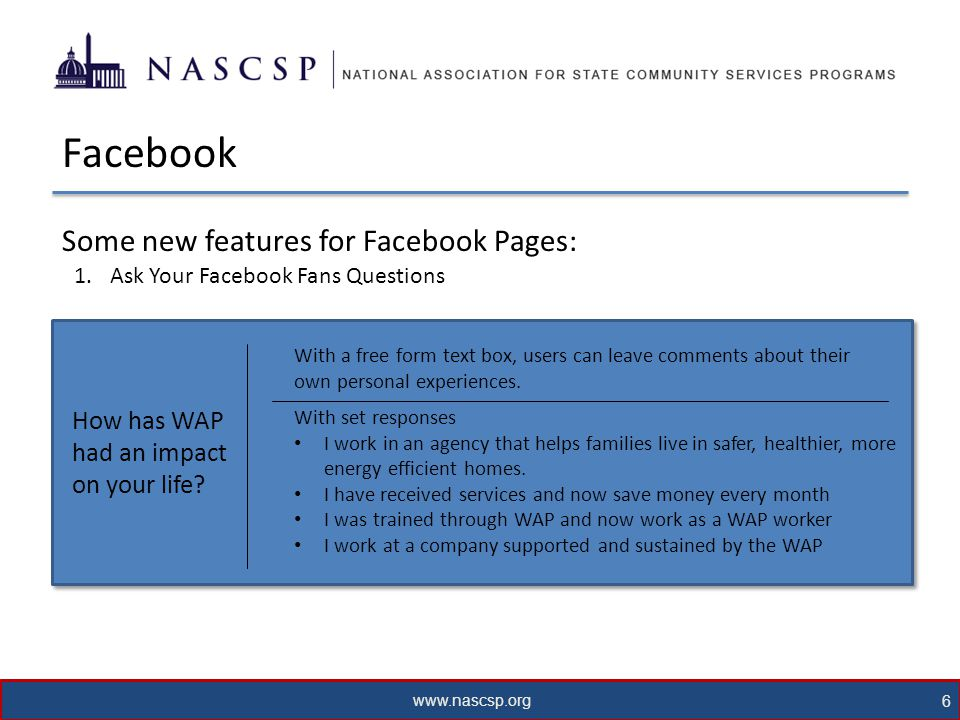 www.nascsp.org 7 Facebook Some new features for Facebook Pages: 2.Facebook Insights