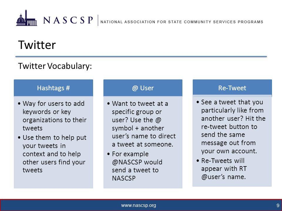 www.nascsp.org 9 Twitter Twitter Vocabulary: