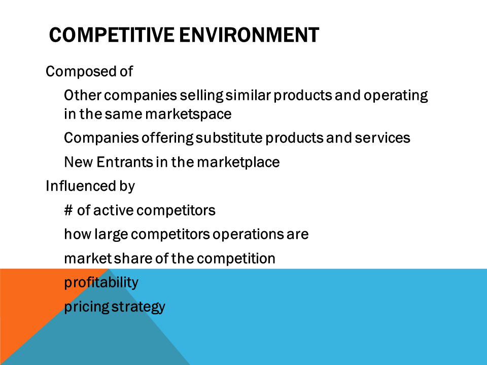 COMPETITIVE ENVIRONMENT Composed of Other companies selling similar products and operating in the same marketspace Companies offering substitute products and services New Entrants in the marketplace Influenced by # of active competitors how large competitors operations are market share of the competition profitability pricing strategy