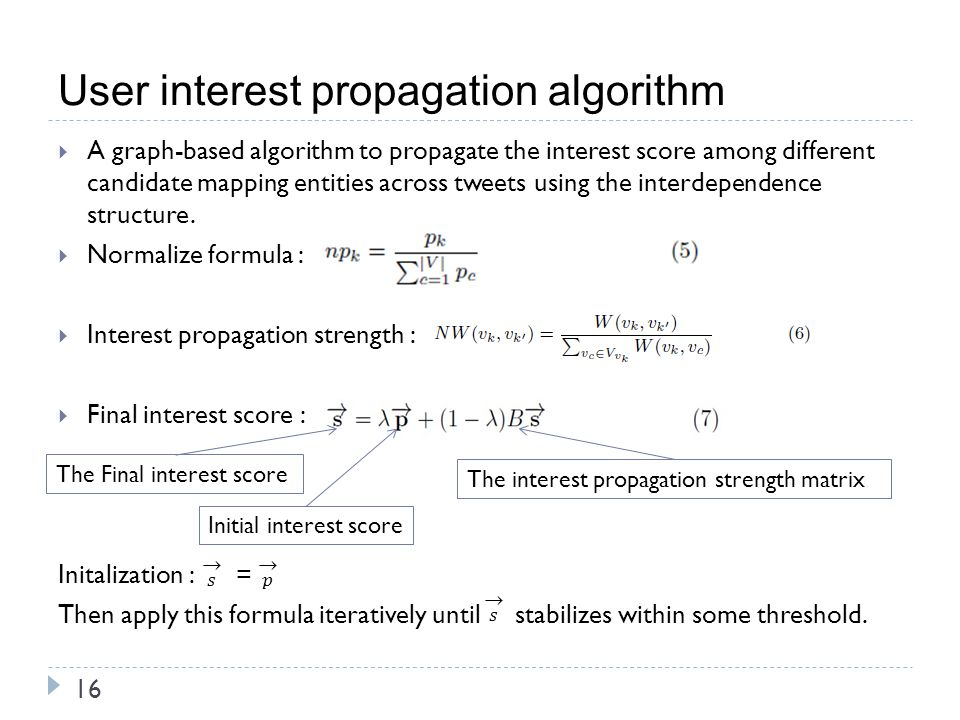 User interest propagation algorithm 16  A graph-based algorithm to propagate the interest score among different candidate mapping entities across tweets using the interdependence structure.