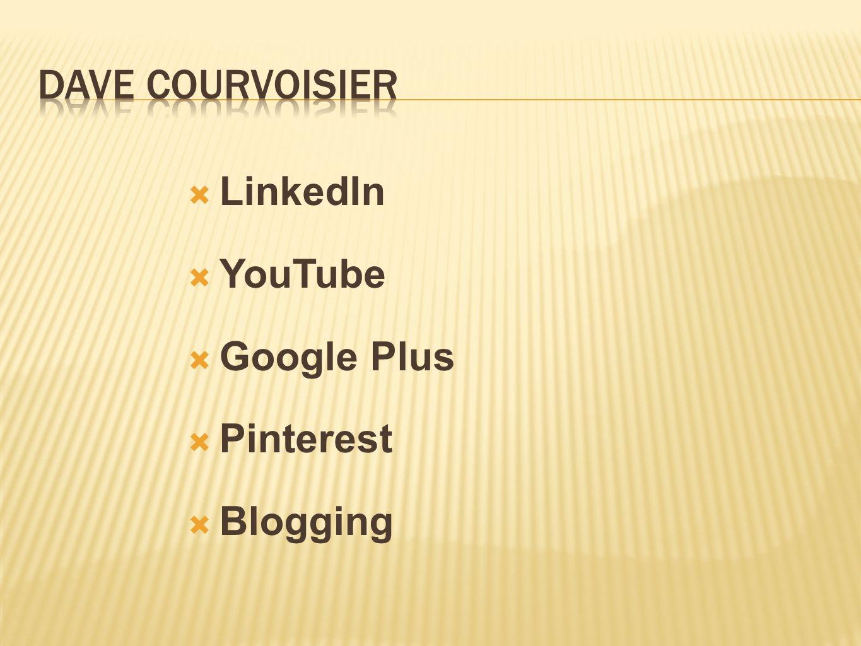  LinkedIn  YouTube  Google Plus  Pinterest  Blogging