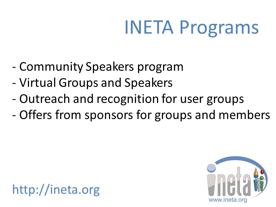 - Community Speakers program - Virtual Groups and Speakers - Outreach and recognition for user groups - Offers from sponsors for groups and members ht