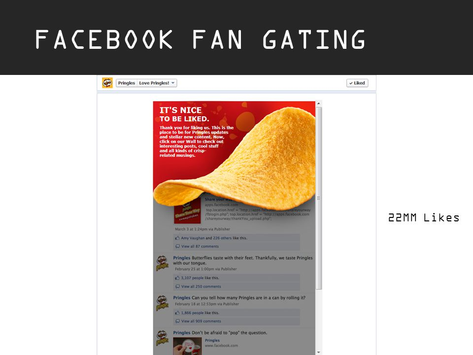 FACEBOOK FAN GATING 22MM Likes
